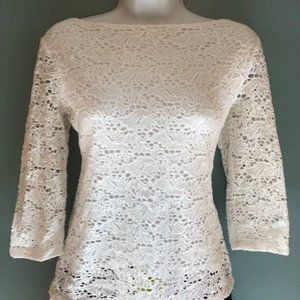 Banana Republic, White Lace Form Fitting Top, Sz 6